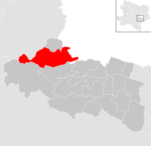 Location of the municipality of Breitenfurt near Vienna in the Mödling district (clickable map)