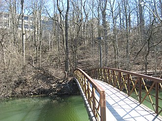 Indiana Central Canal - A bridge over the canal at Butler University.