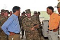 Brig. Gen. Donnie Walker Jr. discusses retro-sort operations with Nevada Gov. Brian Sandoval and Tennessee Gov. Bill Haslam 140928-A-NY241-565.jpg