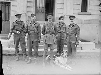 Miles Dempsey - Brigadier Miles Dempsey and his staff, with their mascot 'Tiny' at Wervicq, France, pictured here in late 1939.
