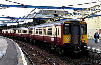 British Rail Class 318 - 318 267 with original front end at Gourock in July 2006