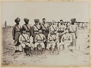 Bengal Native Infantry - British and native officers, 15th (Ludhiana) Regiment of Bengal Native infantry. Photograph taken by the Royal Engineers during the 1884 Suakin Expedition