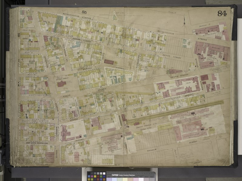 File:Brooklyn, Vol. 4, Double Page Plate No. 84; (Map bounded by Metropolitan Ave., Morgan Ave., Stagg St., Humbolt St., Devoe St., Bushwick Ave., Ten Eyck St., Judge St; Including Powers St., Olive St., NYPL1695451.tiff