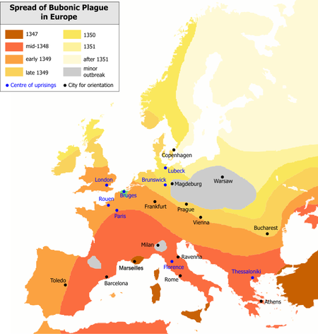 The Black Death rapidly spread along the major European sea and land trade routes