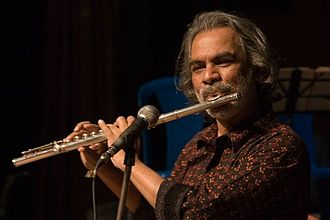 Pradip Chatterjee - Pradip 'Bula' Chattopadhyay playing the flute at the recent First Rock concert at Bangalore