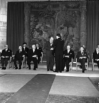 Paul-Henri Spaak - Paul-Henri Spaak conferred the Charlemagne Prize in 1957.