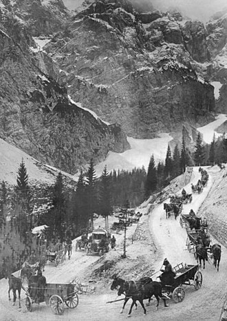 Battles of the Isonzo - Austro-Hungarian supply line over the Vršič Pass. October 1917