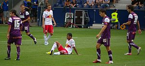 Nacer Barazite - Barazite (in a 39 number shirt) in a league match against Red Bull Salzburg.