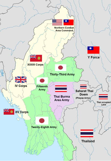 Map of the Burma front showing the conflict of Japanese-Thai and Allied forces. Burma Front Map.png
