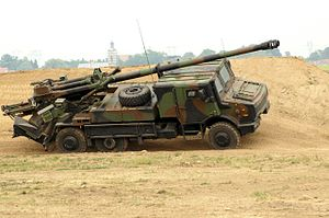 Self-propelled gun - CAESAR howitzer on a Unimog U2450L 6×6 truck chassis.