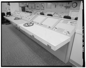 CENTRAL ATLAS CONTROL CONSOLE IN SLC-3W CONTROL ROOM. COMMUNICATIONS HEADSETS IN FOREGROUND. - Vandenberg Air Force Base, Space Launch Complex 3, Launch Operations Building, HAER CAL,42-LOMP,1A-11.tif