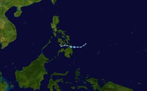 1965 Pacific typhoon season - Image: CMA TD 1 1965 track