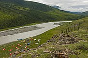 Campsite along Firth River at Joe Creek confluence, seen from above.jpg