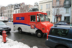 A Canada Post delivery truck in Montréal.