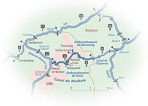 Canal de Roubaix - Map of the Canal de Roubaix and connecting waterways, from Inland Waterways of France