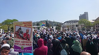 Rohingya persecution in Myanmar - Protesters in Cape Town, South Africa calling for the protection of the Rohingya people.