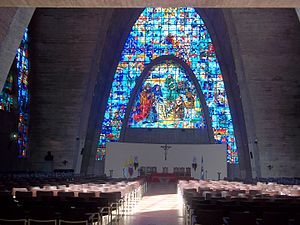 La Salle University, Colombia - Inside of the Star chapel, it can be seen a glass with the Christmas scene on it