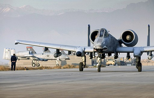 Capt. Eric Fleming taxies an A-10 Thunderbolt II at Bagram Airfield