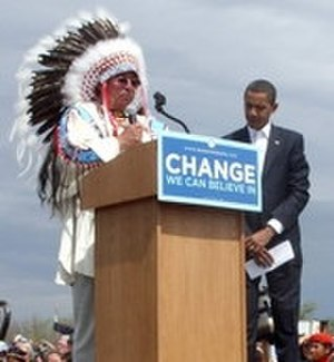 Native American policy of the Barack Obama administration - Carl Venne, Crow Indian Tribal Chairman, introduces Barack Obama, during his campaigning as a candidate for the Democratic Party's nomination in the 2008 United States presidential election.