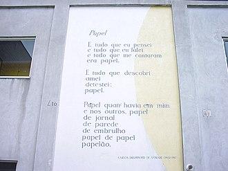 Carlos Drummond de Andrade - Poem by Drummond de Andrade on a wall in Leiden