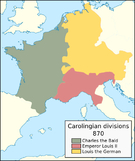 Territorial divisions of the Carolingian Empire in 843, 855, and 870