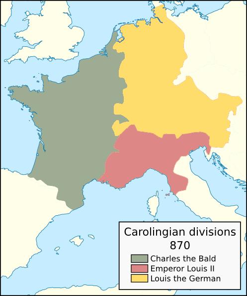 Carolingian territorial divisions, 870