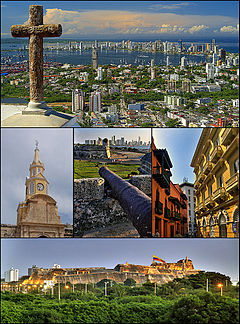 Cartagena de Indias, Colombia. Top:View o Santa Cruz Manga Island, Castillo Grande, Boca Grande aurie frae Cerrodela Popa, Middle left:Reloj Tower (Torre del Reloj), Center:View o Cartagena Wall an Boca Grande business area, Middle richt:San Diego Square, Bottom:San Felipe Barajas Castle (Castillo de San Felipe de Barajas)
