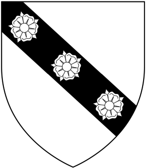 Valentine Cary - Arms of Cary of Cockington, Clovelly and of the Barons Hunsdon, as borne by Bishop Cary: Argent, on a bend sable three roses of the field