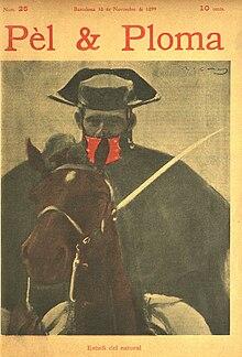 Portada de la revistaPel i Plomacon un dibujo de un guardia civil a caballo, porRamón Casas(1899).