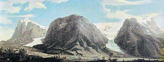 Lower Grindelwald Glacier - Upper (left) and Lower Grindelwald Glacier with Wetterhorn, Mättenberg, and Hörnli (north-eastern extension of the Eiger) from left to the right (1774, Caspar Wolf)