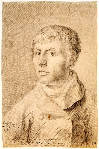 Caspar David Friedrich - Self-portrait (1800) is a chalk drawing of the artist at 26, completed while he was studying at the Royal Academy in Copenhagen. Royal Museum of Fine Arts, Copenhagen