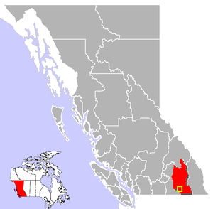 Location of Castlegar in British Columbia