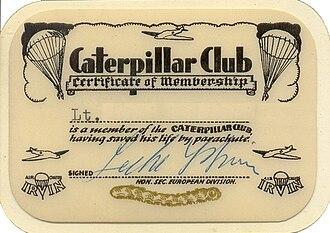 Caterpillar Club - Membership certificate issued 1957