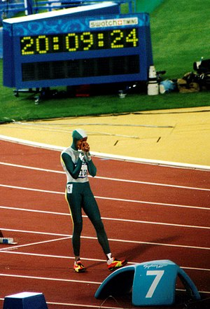 Cathy Freeman - Freeman preparing to race in the Olympic 400 m final, Sydney 2000.
