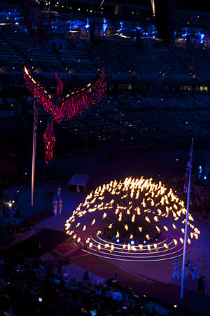 2012 Summer Olympics and Paralympics cauldron - The Olympic cauldron at the 2012 Summer Olympics closing ceremony, opening out prior to being extinguished.