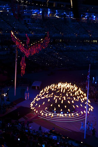 2012 Summer Olympics closing ceremony - Opening of the Olympic cauldron.