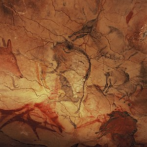 Cave of Altamira - Bisons on the roof of the pit.
