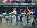 Celebrating in the Dugout (7291568954).jpg