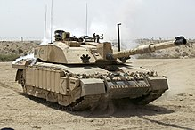 Challenger 2 Main Battle Tank patrolling outside Basra, Iraq MOD 45148325.jpg