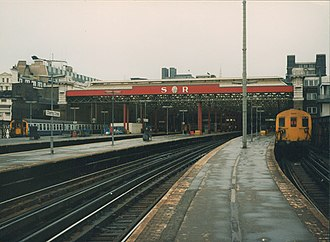 South Eastern Railway, UK - Charing Cross before it was built over with offices with the later SR initials retained.