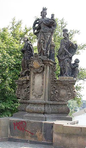 Jan Brokoff - Statues of Saints Barbara, Margaret and Elizabeth on Charles Bridge, Prague (1707)