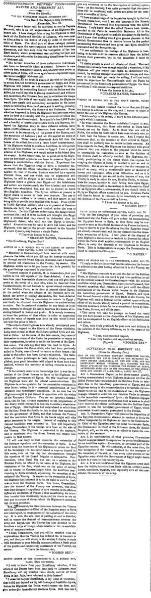 Egyptian–Ottoman War (1839–41) - Resolution of the conflict between Charles Napier and Mohammed Ali, The Times, Saturday, Apr 18, 1840