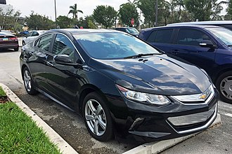 The Chevrolet Volt plug-in hybrid is the all-time top selling plug-in electric vehicle in the U.S. Volt sales in the American market passed the 100,000 milestone in July 2016. Chevrolet Volt MIA 09 2017 5621.jpg