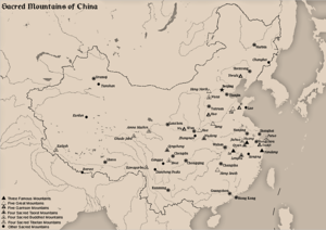 Sacred Mountains of China - Map of sacred mountains of China