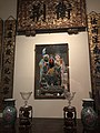 Chinese house altar Singapore early 20thC Hokkien style with Kwan Kong portrait IMG 9779 singapore paranakan museum.jpg