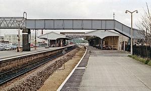 Chippenham railway station - Platform view in 1989