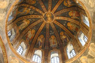 History of Roman and Byzantine domes - A dome at Chora Church, with ribs from between the drum windows converging on a circular fresco image