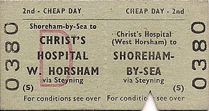 Christ's Hospital railway station - 2nd class return from Christ's Hospital to Shoreham-by-Sea via the Steyning Line.