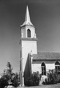 Church of our Lady of Refuge of Sinners, North end of Main Plaza on Estrella Street, Roma Creek (Starr County, Texas).jpg