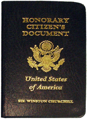 Honours of Winston Churchill - Churchill's identification document as an Honorary Citizen of the United States